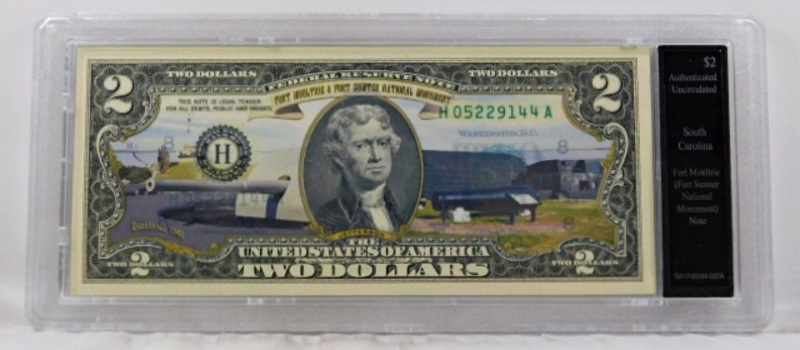 Colorized Federal Reserve $2 Note Commemorating Fort Moultrie, South Carolina*In Custom Protective Holder