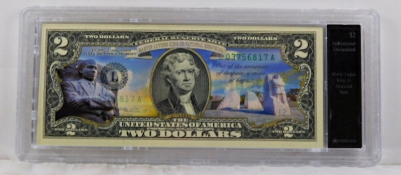 Colorized Federal Reserve $2 Note Commemorating Martin Luther King, Jr. Memorial*In Custom Protective Holder
