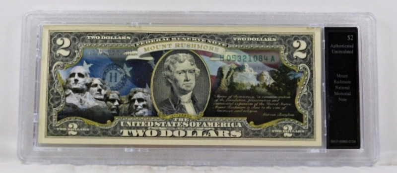 Colorized Federal Reserve $2 Note Commemorating Mount Rushmore National Memorial*In Custom Protective Holder