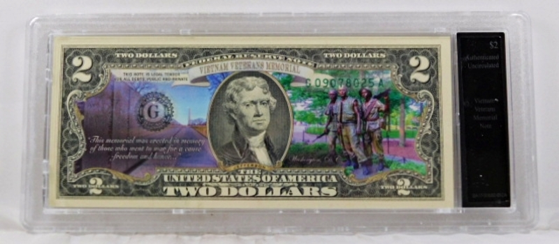 Colorized Federal Reserve $2 Note Commemorating Vietnam Veterans Memorial*In Custom Protective Holder