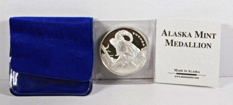 Dall Sheep Medallion*1oz .999 Fine Silver*Struck at the Alaska Mint
