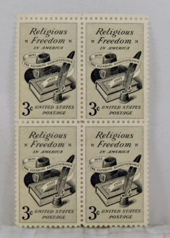 Four 1957 3c US Stamps*Religious Freedom