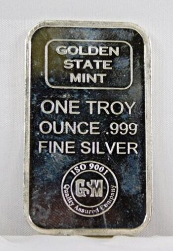 Golden State Mint .999 Fine Silver 1 Oz. Bar