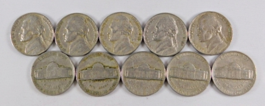 Lot of (10) 1930's and 1940's Jefferson Nickels