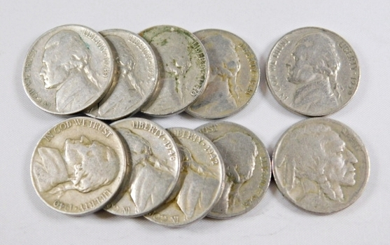 Lot of (10) 1930's and 1940's Jefferson Nickels w/1928 Buffalo Nickel