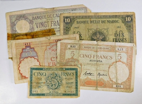 Lot of 10 Algeria and Morocco Banknotes