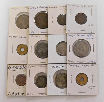 Lot of 12 World Coins in 2x2's:Gambia, Libya, South Africa, Morocco and More