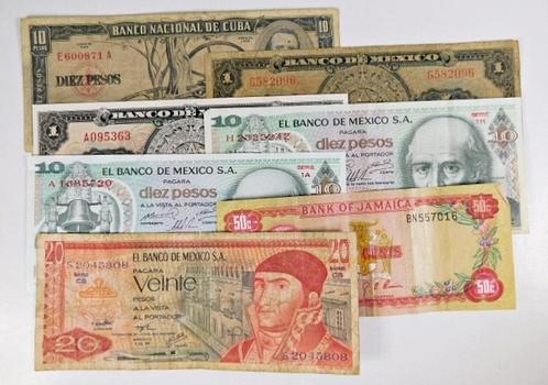Lot of 13 World Notes: Mexico, Jamaica, Cuba