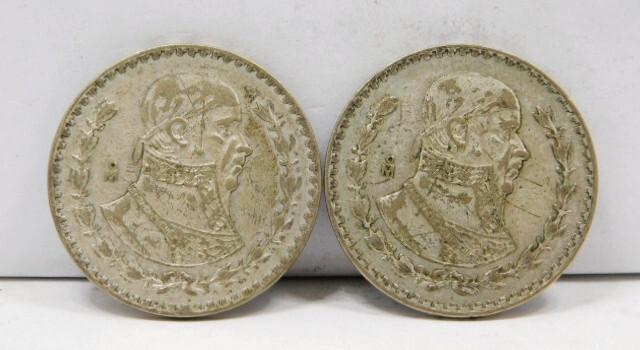 Lot of (2) 1962 & 1966 Mexico Silver Pesos