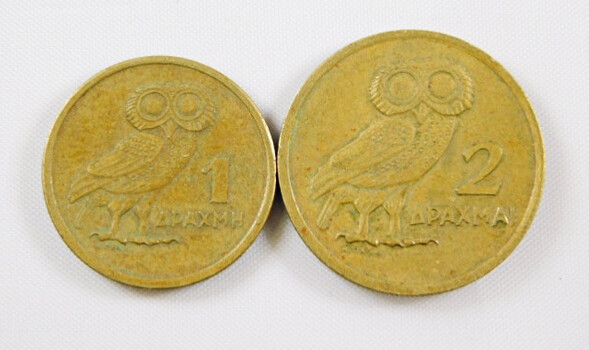 Lot Of 2 Greece Coins 1, 2 Drachmai High Grade