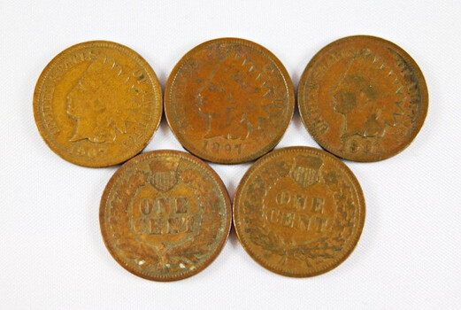 Lot Of 5 Indian Head Cents 1897 1901 1905 1906 1907