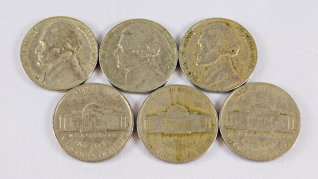 Lot Of 6 1940s And 1950s Jefferson Nickels High Grade