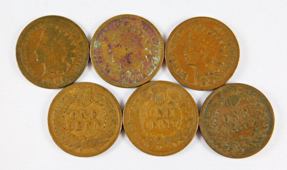 Lot Of 6 Indian Head Pennies 1889 1998 1899 1902 1903 1904