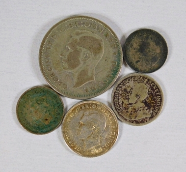 LOT of Five Silver Coins: Australia, Canada and Great Britain (Great Britain Six Pence is High Grade)