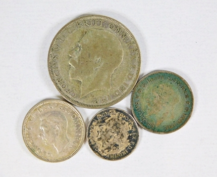 LOT OF Four Great Britain Silver Coins: 1922 One Florin, 1941 Six Pence, 1930 Six Pence and 1918 Three Pence
