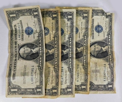 Lot of Four Series 1935 and 1957 Silver Certificates and One Silver Certificate STAR $1 Notes