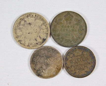 Lot of Four Silver World Coins: Canadian Denominations