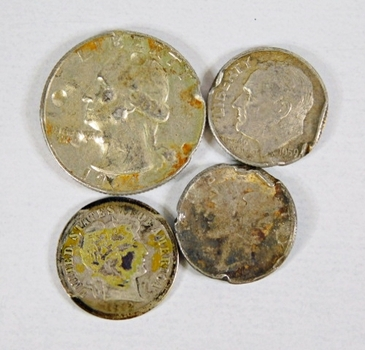 LOT of Four US Silver Coins: 1 Washington Quarter, Barber, Mercury Head and Roosevelt Dimes