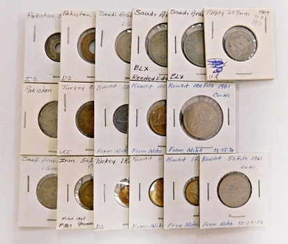 Lot of Over 15 World Coins in 2x2's: Palestine, Turkey, Kuwait, Saudi Arabia and More