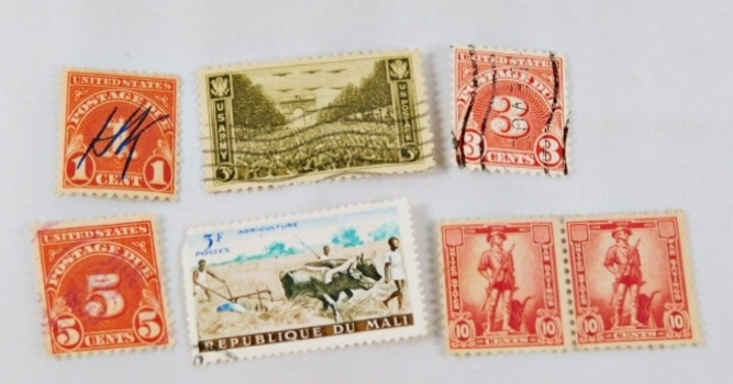 Lot of Six Vintage Stamps*Some Metered, Some New*Both United States and Mali