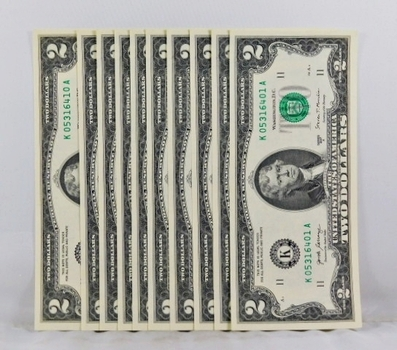 Lot of Ten CONSECUTIVELY NUMBERED $2 Federal Reserve Notes*Dallas, Texas*Crisp Uncirculated