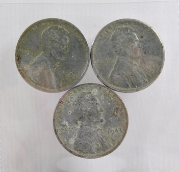 Lot of Three (3) WWII Era Steel Cents - 1943, 1943-D and 1943-S