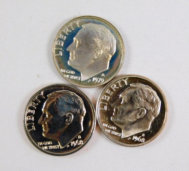 Lot of Three Proof Roosevelt Dimes: 1979-S and Two 1968-S