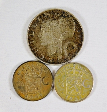 Lot of Three Silver World Coins: 10 Shilling Austria and Two Netherlands East Indies 1/4 Gulden