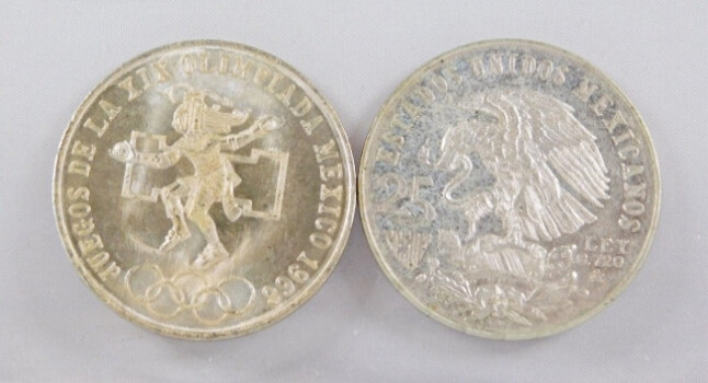 Lot of Two 1968 Mexico Silver Olympics Coins High Grade