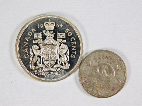 LOT of Two Canadian Silver Coins: Brilliant Uncirculated 1964 50 Cents and 1963 5 Cents