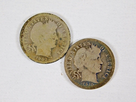 Lot of Two Silver Barber Dimes: 1910-D and 1907