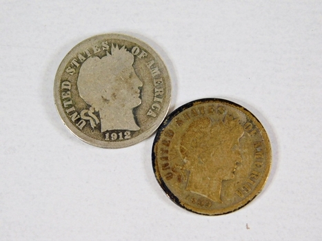 Lot of Two Silver Barber Dimes: 1912 and 1909-S
