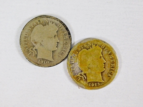Lot of Two Silver Barber Dimes: 1913 and 1910