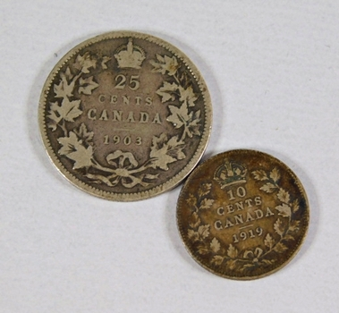 Lot of Two Silver Canadian Coins: 1903 25 Cents and 1919 10 Cents