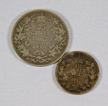 Lot of Two Silver Canadian Coins: 1910 25 Cents and 1919 10 Cents