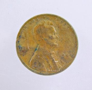 MINT ERROR - 1944 Lincoln Wheat Cent - Die Crack; Broken 9 & 1