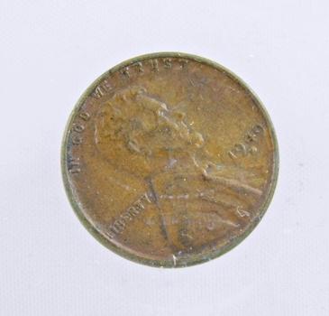 MINT ERROR - 1949-D Lincoln Wheat Cent - Die Crack; Filled D