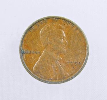 MINT ERROR - 1950-D Lincoln Wheat Cent - Sliced 0
