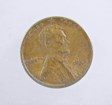 MINT ERROR - 1953-S Lincoln Wheat Cent - Die Crack; Filled 5