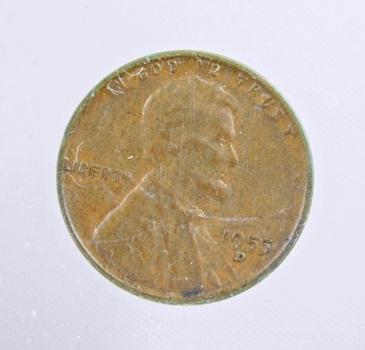 MINT ERROR - 1955-D Lincoln Wheat Cent - 75% BIE Die Error - Nice Detail