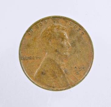 MINT ERROR - 1955-D Lincoln Wheat Cent - Die Crack; Filled 5