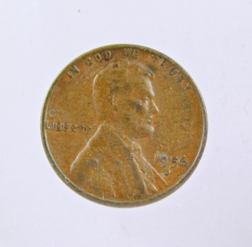 MINT ERROR - 1956-D Lincoln Wheat Cent - Die Crack; Filled B