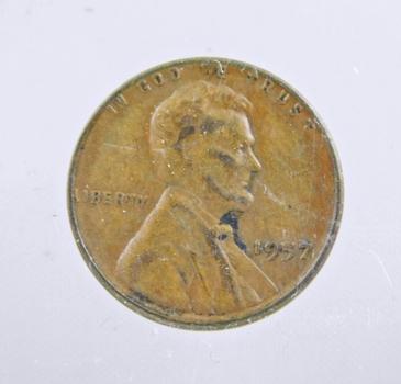 MINT ERROR - 1957 Lincoln Wheat Cent - Filled 5 Die Error
