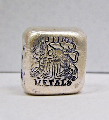 Mutiny Metals 1/2 oz .999 Silver Poured Silver Bar
