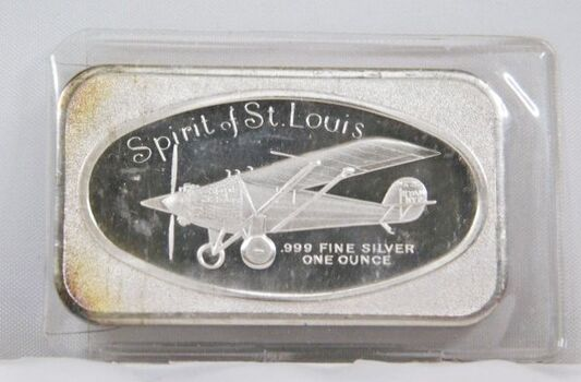One Troy Ounce .999 Fine Silver Bar - Spirit of St. Louis