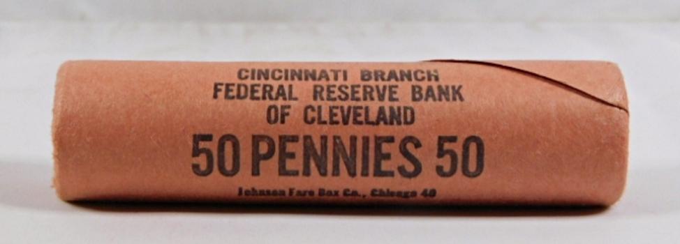 Original 1960-D Lincoln Memorial Cent Federal Reserve Bank of Cleveland Unopened Shotgun Roll