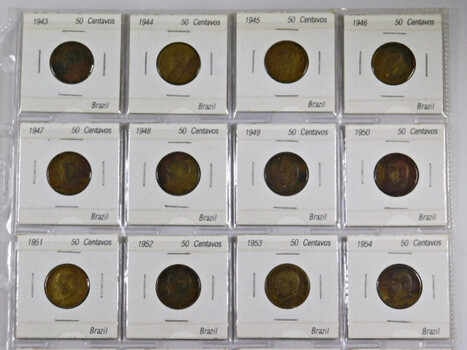 Page Of 20 World Coins From Brazil
