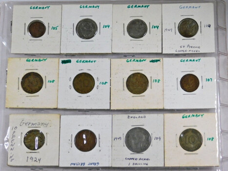 Page Of 20 World Coins From Germany And Greece And Hong Kong And Guyana