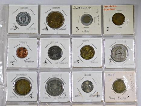 Page Of 20 World Coins From Hong Kong, Honduras, Guyana, Greece