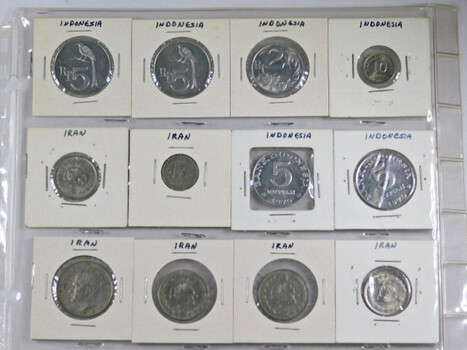 Page Of 20 World Coins From Indonesia And Iran And Italy